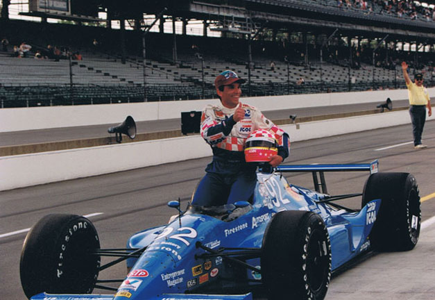 Franck Freon in blue indy car